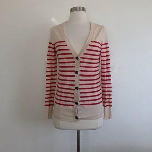 UO BDG Cream & Red Stripe Button Down Cardigan